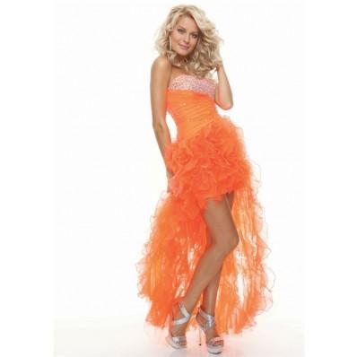 Sexy sweetheart beaded organza ruffles orange prom dress high low
