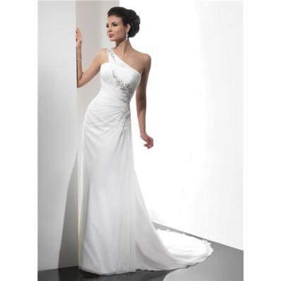 Sheath Asymmetric One Shoulder Summer Beach Chiffon Wedding Dress With Straps Beading Pleat