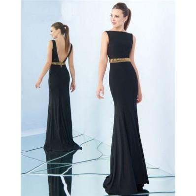 Sheath Bateau Neckline Low Back Black Jersey Gold Beaded Evening Prom Dress