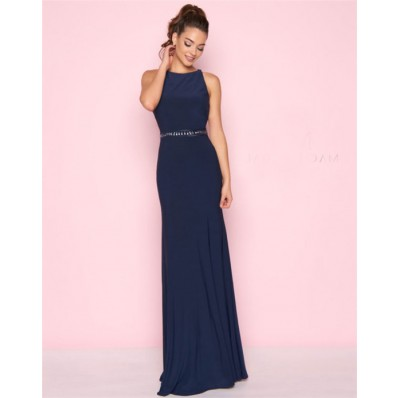 Sheath Jewel Neckline Open Back Long Navy Jersey Evening Prom Dress Beaded Belt