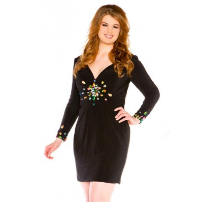 Sheath Short Black Chiffon Beaded Plus Size Cocktail Prom Dress With Sleeves