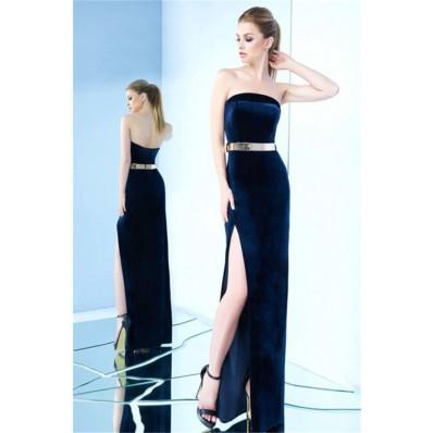 Sheath Strapless High Slit Navy Velvet Evening Prom Dress With Belt