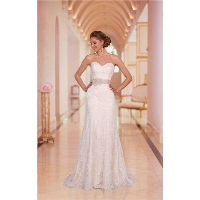 Sheath Strapless Sweetheart Sparkly Lace Wedding Dress With Crystals Sash