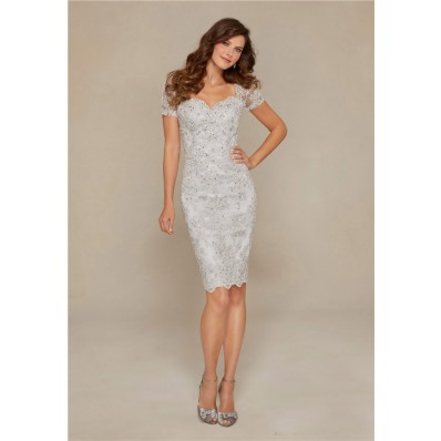 Sheath Sweetheart Open Back Short Sleeve Silver Lace Beaded Evening Dress
