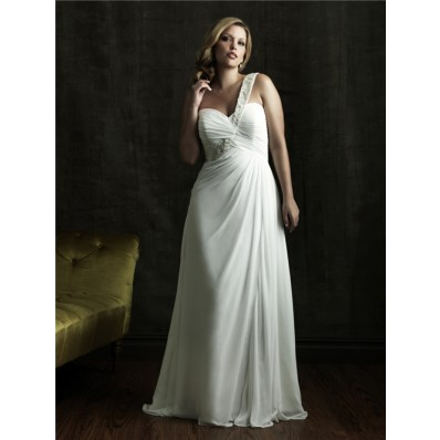 Sheath one strap court train chiffon plus size beach wedding dress with corset and buttons