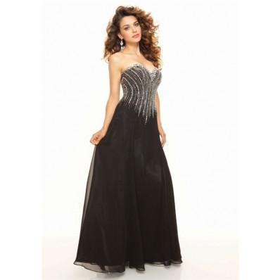 Sheath sweetheart floor length unique beading black chiffon prom dress