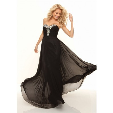 Sheath sweetheart long black chiffon prom dress with beading