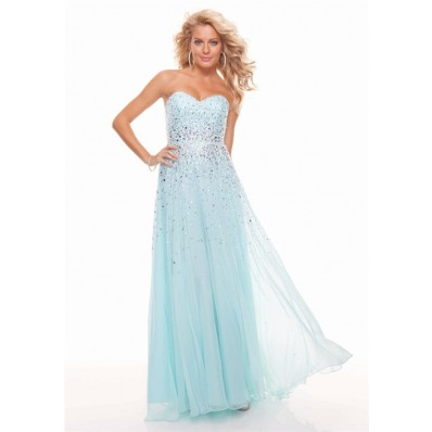 Sheath sweetheart long light blue chiffon prom dress with beading