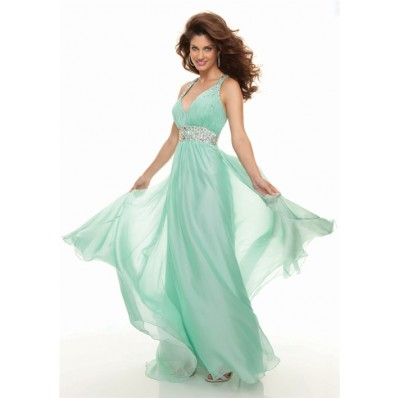 Sexy sheath v neck long mint green chiffon prom dress backless