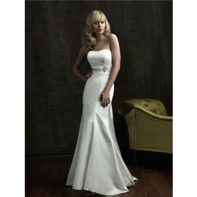Simple Mermaid Strapless Sweep Train Satin Wedding Dress With Flowers Sash