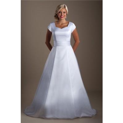 simple modest a line cap sleeve satin corset wedding dress