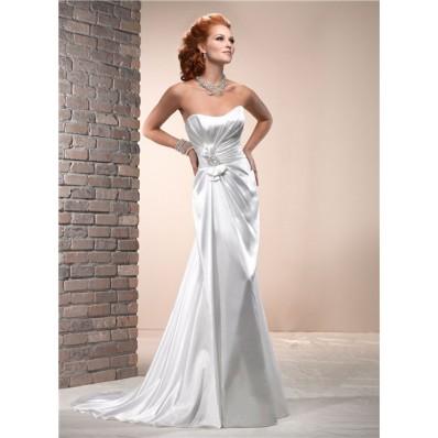 Simple Sheath Scoop Neckline Corset Back Silk Satin Wedding Dress With Bow