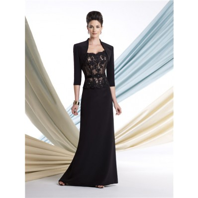Slim Black Lace Chiffon Mother Of The Bride Evening Dress