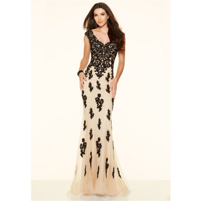 Slim Low Back Champagne And Black Lace Evening Prom Dress Cap Sleeves