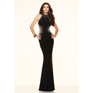 Slim Mermaid High Neck Open Back Long Black Beaded Evening Prom Dress