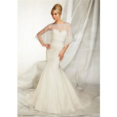 Slim Mermaid Sweetheart Tulle Beaded Wedding Dress With Wrap