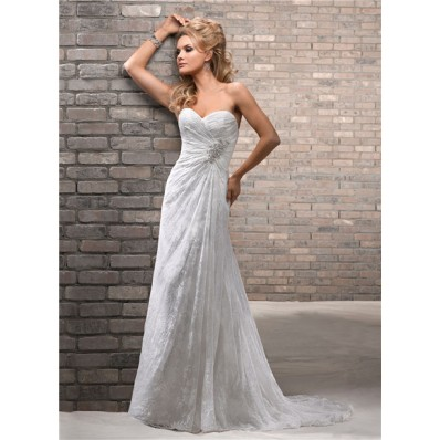 Slim Sheath Sweetheart Lace Beach Wedding Dress With Buttons Crystal