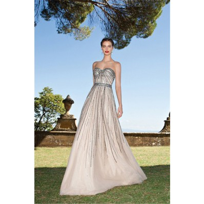 Sparkly A Line Sweetheart Long Champagne Tulle Sequin Beaded Prom Dress With Bow