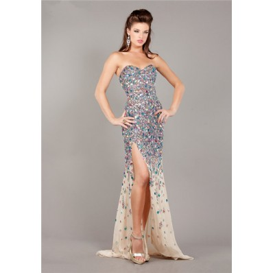 Sparkly Mermaid Strapless High Slit Champagne Chiffon Colorful Beaded Prom Dress