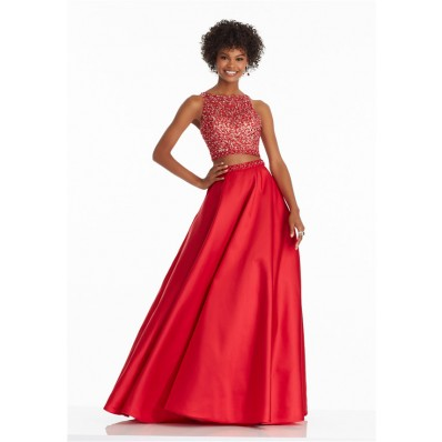 Stunning A Line High Neck Open Back Two Piece Red Satin Beaded Prom Dress