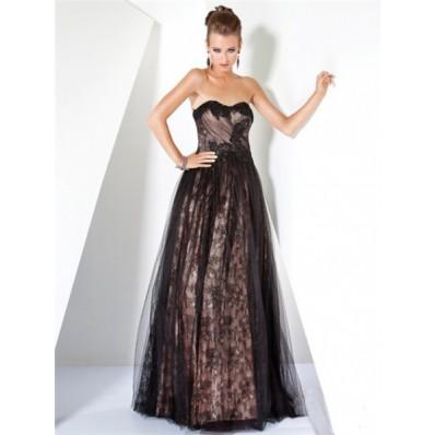 Stunning A Line Princess Strapless Long Nude Black Lace Evening Dress