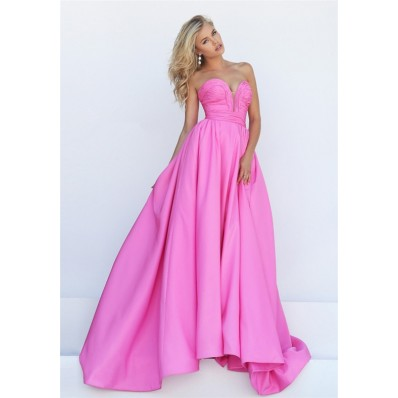 Stunning A Line Strapless Plunging Neckline Pink Taffeta Ruched Prom Dress