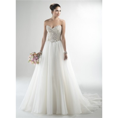 Stunning A Line Strapless Tulle Beaded Crystal Sparkly Wedding Dress