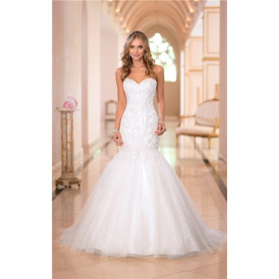 Stunning Trumpet Mermaid Sweetheart Lace Tulle Sparkly Wedding Dress