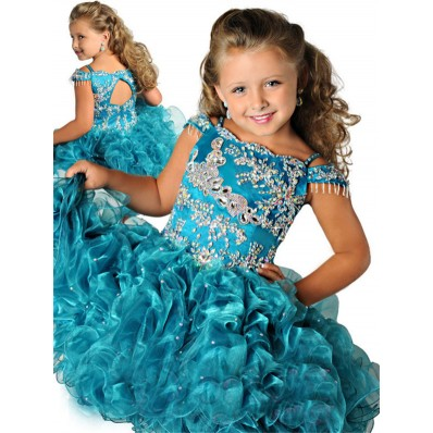 Stunning Tutu Cut Out Short Teal Organza Ruffle Beaded Girl Prom Dress