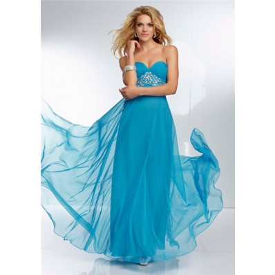 Sweetheart Empire Waist Flowing Long Turquoise Blue Chiffon Beaded Prom Dress