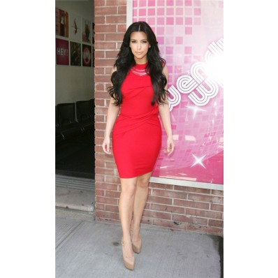 Tight Short/ Mini Kim Kardashian Red Jersey Dress