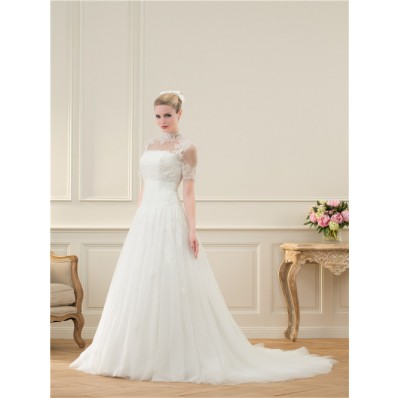 Traditional A Line Strapless Tulle Lace Beaded Wedding Dress Short Sleeve Jacket