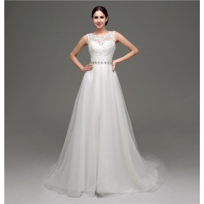 Traditional Princess Sheer See Through Back Tulle Lace Wedding Dress With Belt