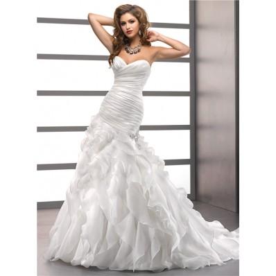 Trumpet/ Mermaid Sweetheart Court Train Oganza Ruffles Wedding Dress With Corset Back