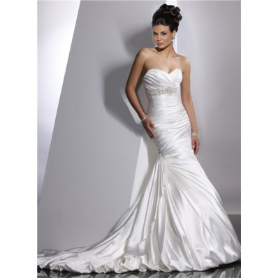 Trumpet/ Mermaid Sweetheart Empire Court Train Satin Wedding Dress With Beaded Crystals Pleat