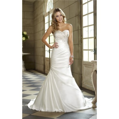 trumpet mermaid sweetheart ruched satin lace beaded corset