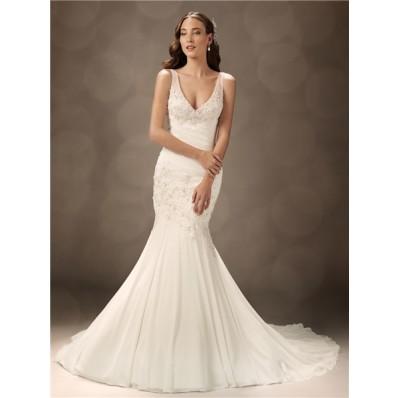 Trumpet/Mermaid V neck court train organza wedding dress with straps