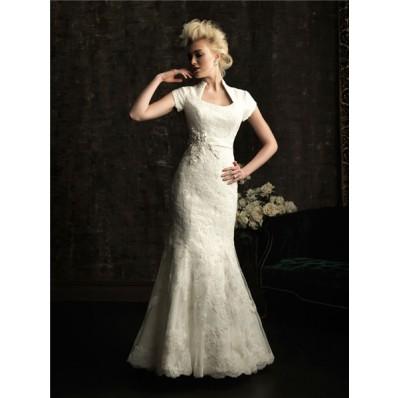 Trumpet/ Mermaid court train short sleeves wedding dress with collar