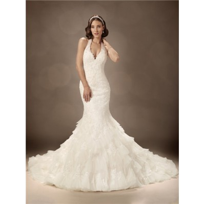 Trumpet/Mermaid halter chapel train sexy wedding dress