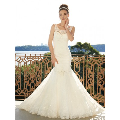 Trumpet/Mermaid scoop court train low back wedding dress