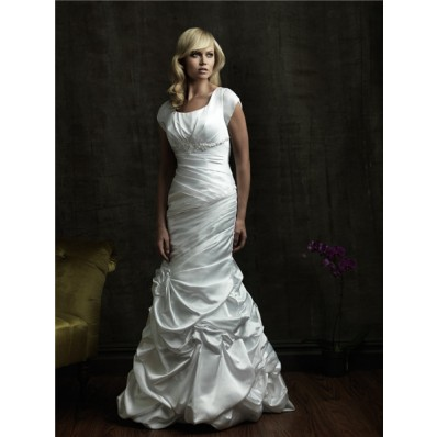 Trumpet/ Mermaid square court train cap sleeve wedding dress