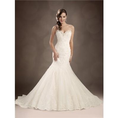 Trumpet/Mermaid sweetheart chapel train beaded lace wedding dress