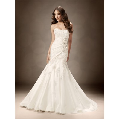 Trumpet/Mermaid sweetheart chapel train crystals beaded wedding dress