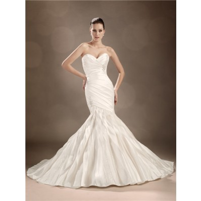 Trumpet/Mermaid sweetheart chapel train satin organza wedding dress
