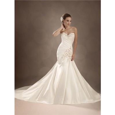 Trumpet/Mermaid sweetheart chapel train satin wedding gown