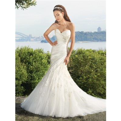 Trumpet/Mermaid sweetheart court train satin tulle wedding dress with appliques