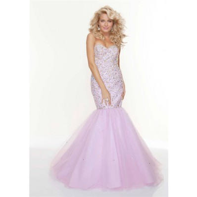 Trumpet/Mermaid sweetheart long fishtail lilac beaded prom dress