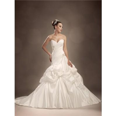 Trumpet/Mermaid sweetheart chapel train pleated taffeta wedding dress