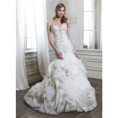 Unique Mermaid Strapless Low Back Satin Beaded Organza Ruffle Layered Wedding Dress