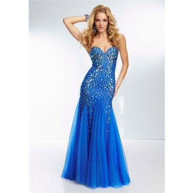 Unique Mermaid Sweetheart Neckline Long Royal Blue Tulle Beaded Crystal Prom Dress